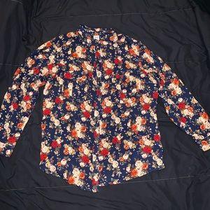 Royal blue floral blouse